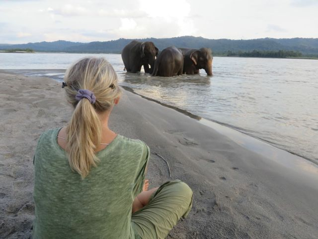 Carol watching eles in lake