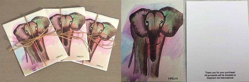 custom original elephant art notecards by Haley