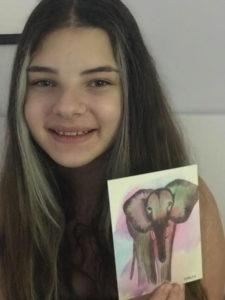 elephant note card artist